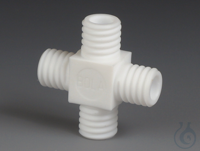 GL Tube Fittings Cross PTFE Tube fitting cross-shaped made of PTFE, four connect GL Tube Fittings...