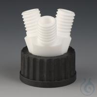 Flaschen-Mehrfachverteiler PTFE/PPS Schraubkappe schwarz aus PPS für Gewinde gem