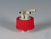 Flex-Verteiler PP/PBTP Schraubkappe rot aus PBTP für Flaschengewinde GL 45 und V