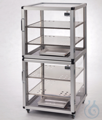 Maxi 2-Desiccator PMMA/AL Aluminium frame with panels made of acrylic glass, two