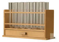 Wooden frame for 12 collection tubes with drawer for tool set Wooden frame...
