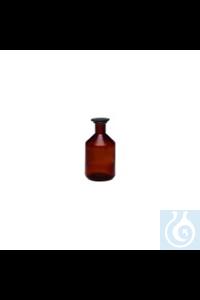 Steilbrustflasche, braun Steilbrustflaschen mit Normschliff, braun, Enghals mit Glasstopfen und...