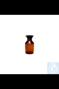 Steilbrustflasche, braun Steilbrustflaschen mit Normschliff, braun, Weithals mit Glasstopfen und...