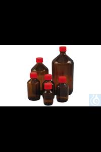 Medizinflaschen Aus Braunglas, rund, komplett mit Ausgießring aus PE natur und rotem Verschluss...