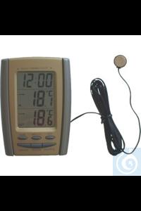 Elektronisches Kühlschrankthermometer Thermo Clock, mit Uhr, Datum und Außenfühler  Messbereich...