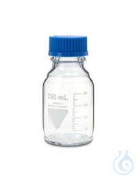 Laborflasche Rasotherm ISO, GL45, 250 ml, blauer Schraubverschluss (PP)...