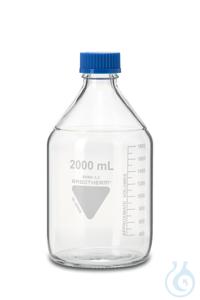 Laborflasche Rasotherm ISO, GL45, 2000 ml, blauer Schraubverschluss (PP)...
