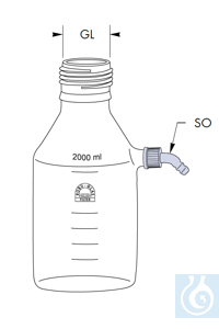 Filtering flask, without screw cap, 2000 ml, GL 45, GL 14 connection, Robu® Filtering flask,...