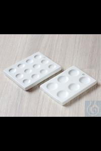 Plaque à gouttes, porcelaine, 6 cavités, L 112 x B 81, Ø 25 mm Plaque à gouttes, porcelaine, 6...