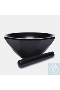 mortar-agate-with pestle-110 mm-standard form-black mortar - agate - with pestle - 110 mm -...