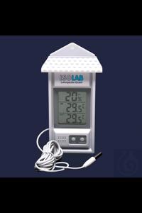 Thermometer-LCD Anzeige-Min Max-Innen und Außentemperatur-Feuchtigkeit Thermometer, Min / Max,...