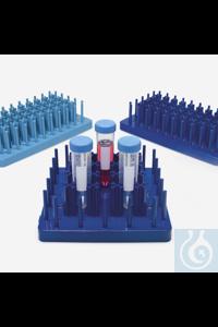 tube rack-ABS-hedgehog ( peg ) type-for tubes 50 ml-dark blue tube rack - ABS - hedgehog ( peg )...
