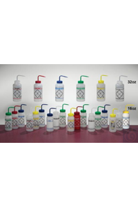 BTL,WASH,WM,ASSORTED,500ML11646-0050 Bel-Art Safety-Labeled Assorted 2-Color...