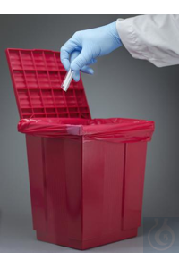 CAN W/LID,DISPOSAL,BIOHAZARD,RED13197-0000 Bel-Art Polypropylene Biohazard...