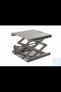 Hebebühne 18/10 Stahl mit Metallknopf, 240x240mm, Hub 60-275mm Hebebühne 18/10 Stahl, DIN12897,...