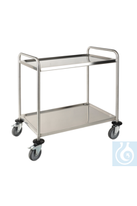 Laboratory cart, 18/10 Steel, 2 plates Laboratory cart, 18/10 Steel, LxWxH=900x600x940mm, 2...