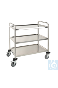 Laboratory cart, 18/10 Steel, 3 plates Laboratory cart, 18/10 Steel, LxWxH=900x600x940mm, 3...