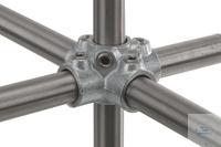 Kreuzverbinder f. 5 Rohre, Temperguss, verzinkt,d=26,9mm Kreuzverbinder für 5 Einzelrohre,...