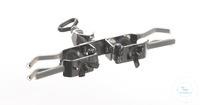 Bürettenklemme 18/10 Stahl, m. Muffe, d=0-20mm Bürettenklemme aus 18/10 Stahl, doppelseitig, mit...