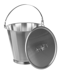 Bucket 18/10, graduated, w. bottom ring, a. handle, 12 l Bucket 18/10, graduated, with bottom...