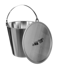 Bucket 18/10 steel, graduated, w., handle, 6 l Bucket 18/10 steel, graduated, with handle, 6...