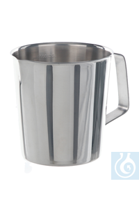 Measuring jug 18/10 steel, conical, shape, 1 l Measuring jug 18/10 steel, with spout and handle,...
