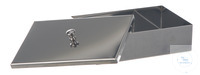 Instruments tray w. lid 18/10 steel, 300x200x50mm Instruments tray with lid, 18/10 steel,...